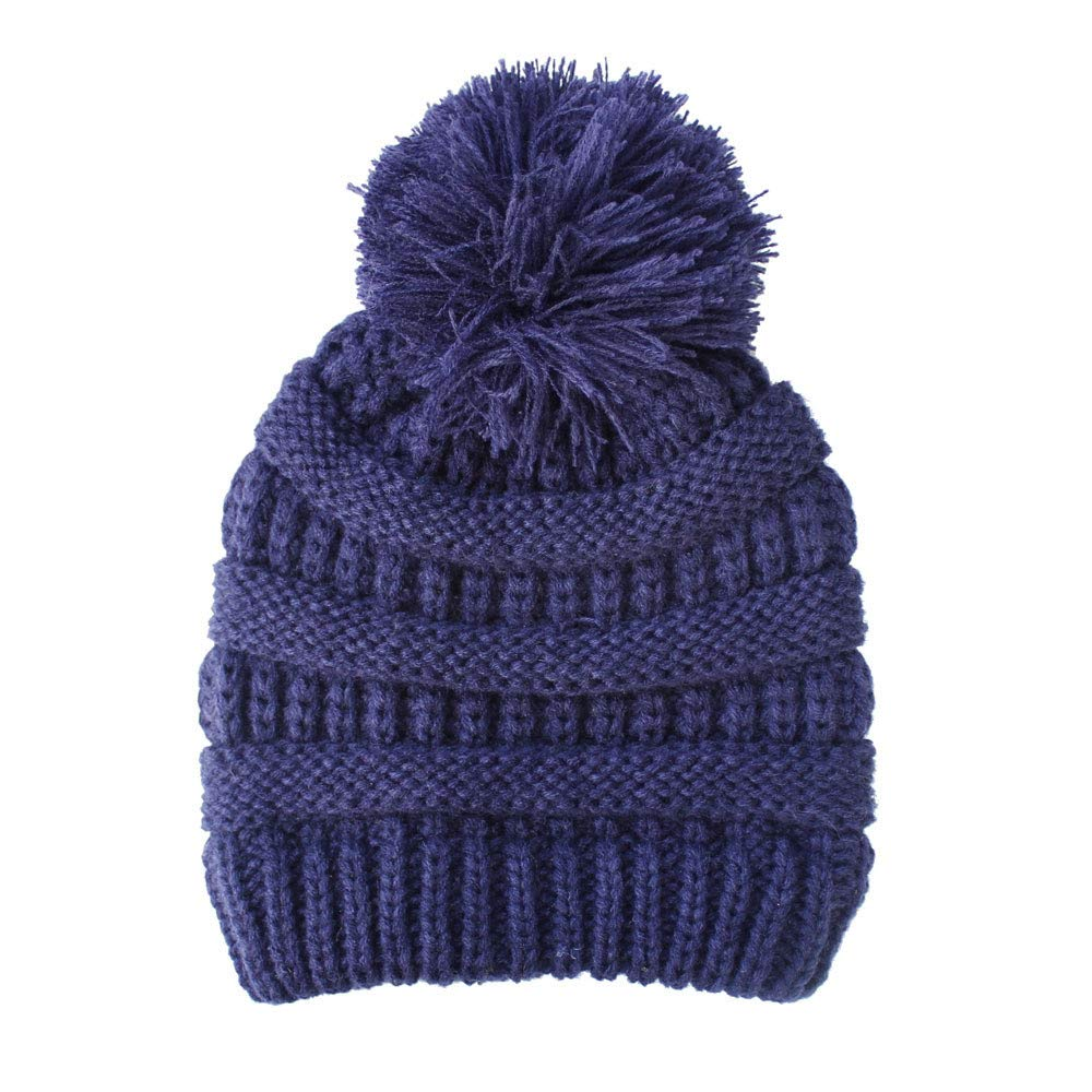 Lavany Baby Hats Boys Girls Knited Woolen Headgear Ball Hat Caps for 2-6 Years (Navy)