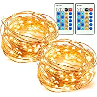 33ft 100 LED String Lights 2 Pack Dimmable with Remote...