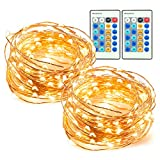 33ft 100 LED String Lights 2 Pack Dimmable with Remote Control, TaoTronics Waterproof Decorative Lights for Bedroom, Patio, Garden, Gate, Yard, Parties, Wedding (Copper Wire Lights, Warm White)