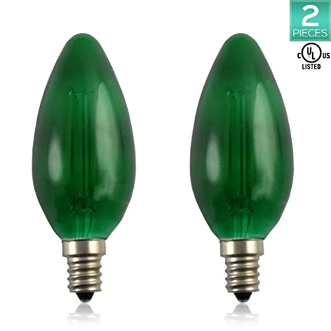 2-Pack Luxrite Straight Tip/Torpedo Style Green LED Bulb, 4W ...