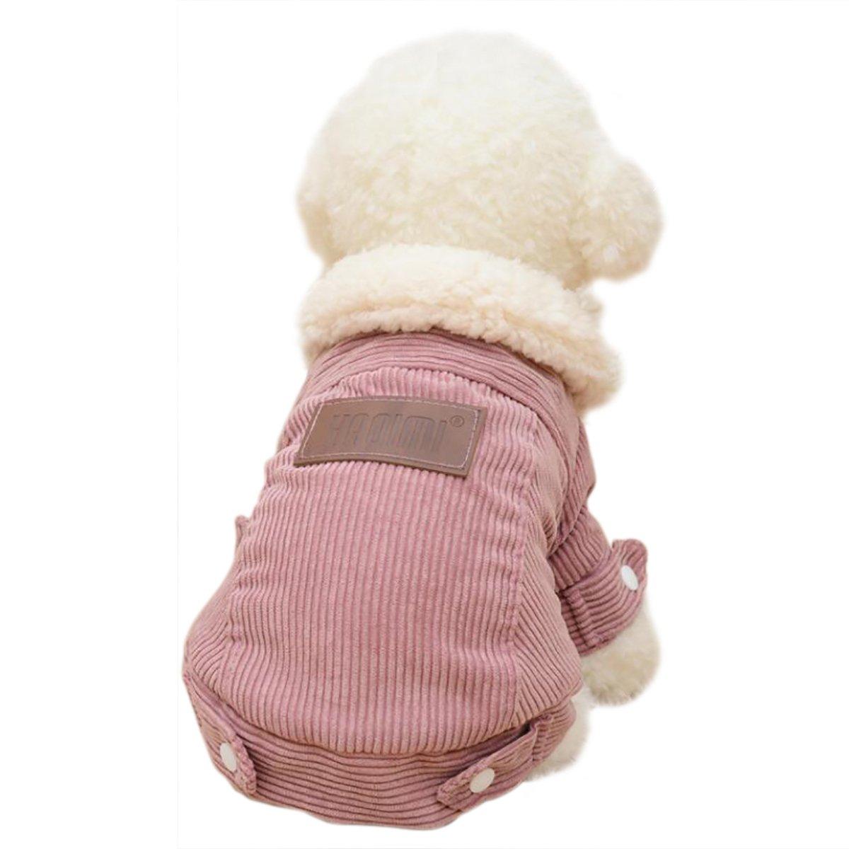 TenNen pet wear Fuyugi small dogs New Year Dog clothes medium-sized dog warm coat birthday cat clothes fashionable jacket (XL pink)