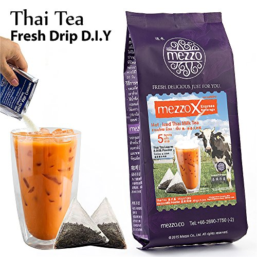 MezzoX Hot/Iced Thai Tea, Easy DIY Set 1.9 oz (54g) x 5 Servings, No Special Equipment or Ingredients Needed. Incl Ground Tea Leaves, Special Milk Powder, Thailand Import by Mezzo MezzoX