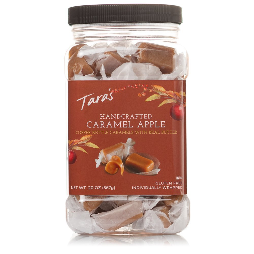 Tara's All Natural Handcrafted Gourmet Caramel Apple Flavored Caramels: Small Batch, Kettle Cooked, Creamy & Individually Wrapped - 20 Ounce