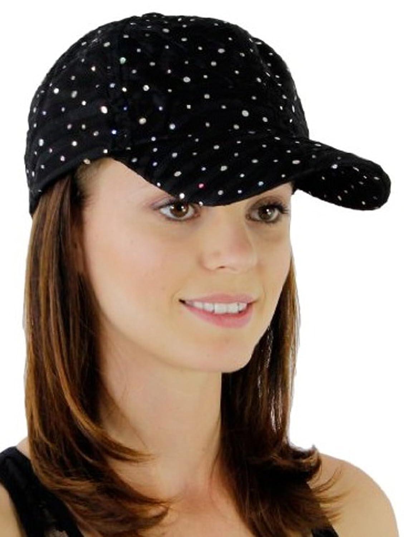 Glitzy Game Crystal Sequin Trim Women's Adjustable Glitter Baseball Cap Hat BLACK