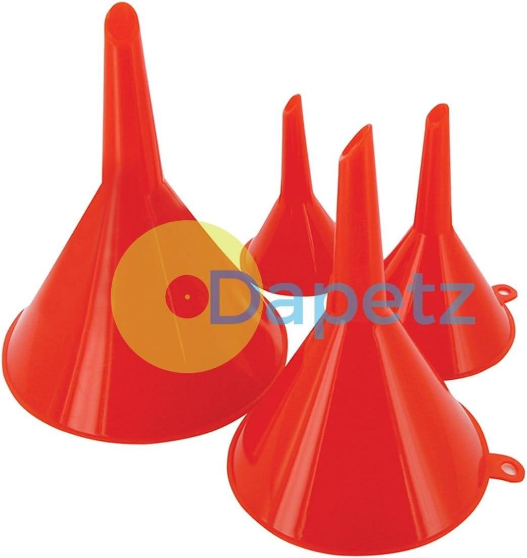 Dapetz /® Funnel Set 4Pce 50, 75, 100 and 120 mm Hand Tools Car Van Fuel Petrol Water Oil Spout Pour
