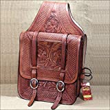 100M HILASON WESTERN FLORAL HAND TOOL LEATHER COWBOY TRAIL RIDE HORSE SADDLE BAG