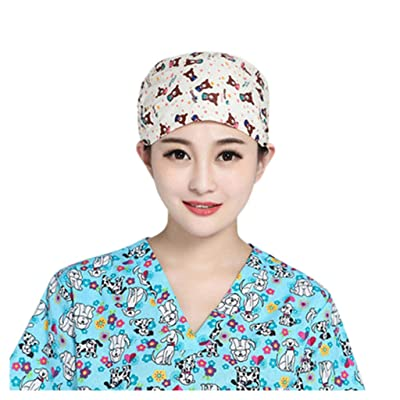 KYLEON Adjustable Surgical Scrub Cap Medical Doctor Nurse Bouffant Hat Elastic Head Covers with Sweatband for Womens Mens: Clothing
