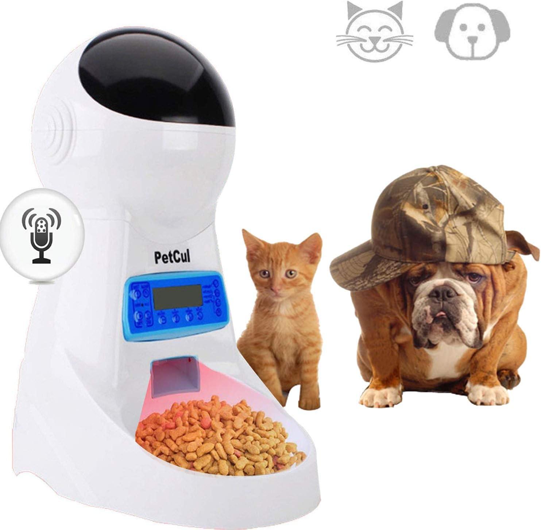 PetCul 犬&猫用 自動ペットフィーダーフードディスペンサーは - 最大4食 日にタイマープログラマブルを記録配布アラーム部分制御声が特徴 3L ホワイト