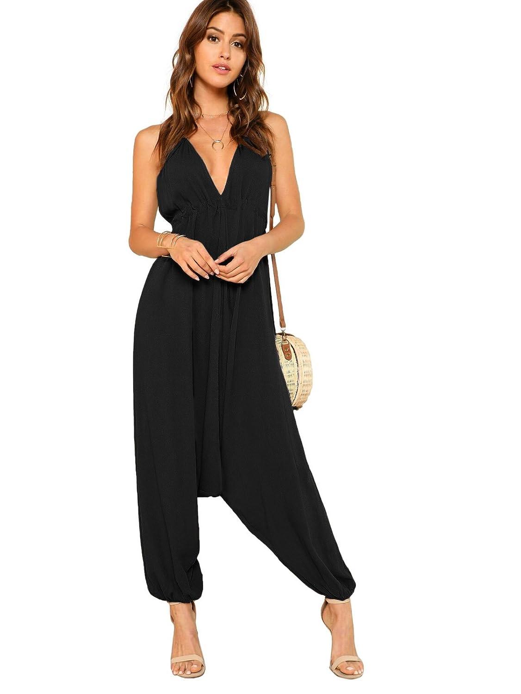Black1 DIDK Women's Open Back Elastic Hem Oversized Cami Jumpsuit