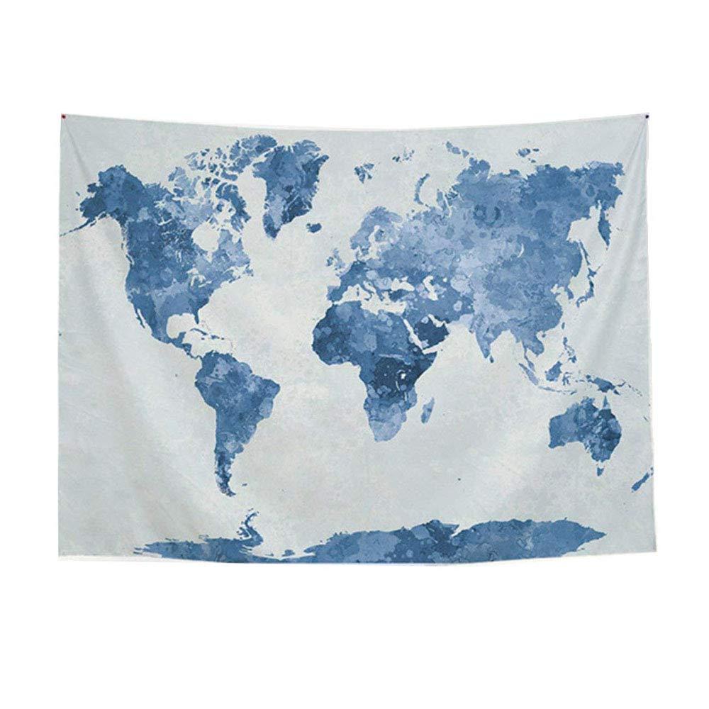 Dormitorio o hogar Dormitorio LUCKY Luckyrainbow Tapiz para Sala de Estar Tapiz para Colgar en la Pared Tapiz con dise/ño de Mapa del Mundo Arte Abstracto Acuarela Azul tama/ño Grande