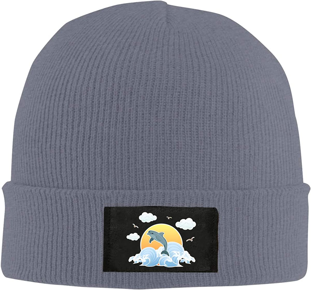 Dolpin and Sun Winter Knitted Hat Warm Wool Skull Beanie Cap