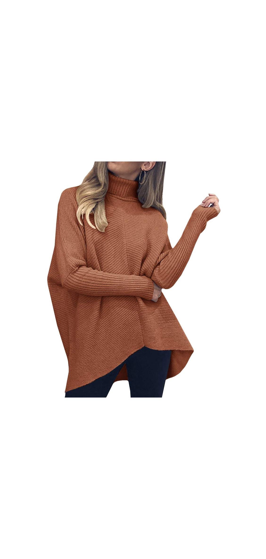Womens Turtleneck Long Batwing Sleeve Sweater Hem Knit