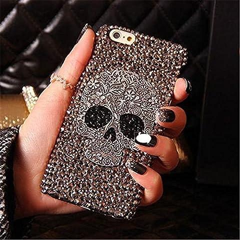 For iPhone 7 4.7 inch Case, MKLOT Handmade Diamond Skull Skeleton Hard Phone Case Cover Skin Gray (Whatever You Do Be A Good One)