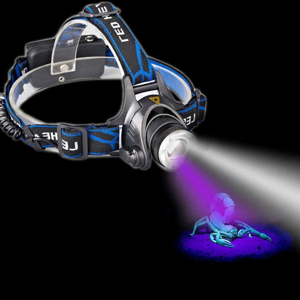 ILILIL Tragbare Dual-LEDs Zoom White UV-Licht-Scheinwerfer-Batterie Blacklight Powered Kopflampe Stirnlampe