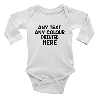 2bd2bc630 Shopagift Personalised Any Text and Any Colour Cute Boys and Girls Long  Sleeve Baby Vest Bodysuit: Amazon.co.uk: Clothing