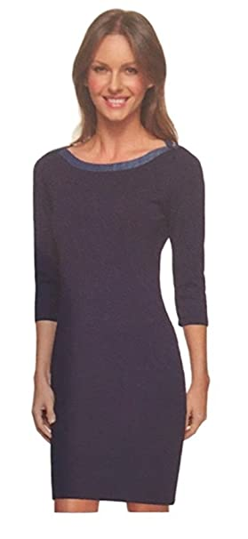 6522fae3aff Image Unavailable. Image not available for. Color: Tommy Hilfiger Ladies  Nautical Scoop Neck 3/4 Sleeve Jersey Dress