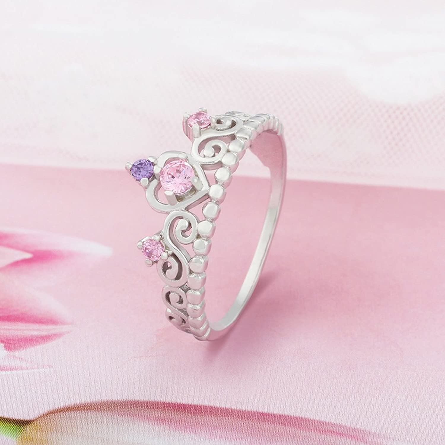 Amazon.com: 925 Sterling Silver Princess Heart Crown Pink & Purple ...