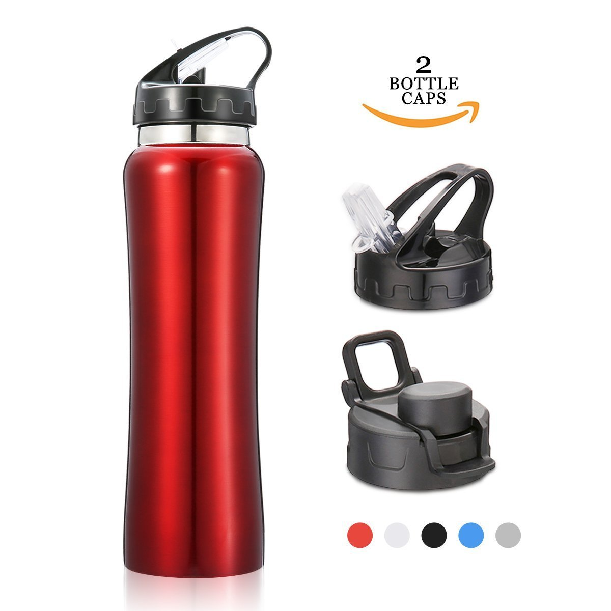 Thermobecher,CAMTOA Edelstahl Wasserflasche 550ml mit 2 ...