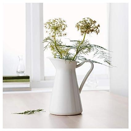 Amazon White Vintage Shabby Vase Enamel Pitcher Chic Cream Jug