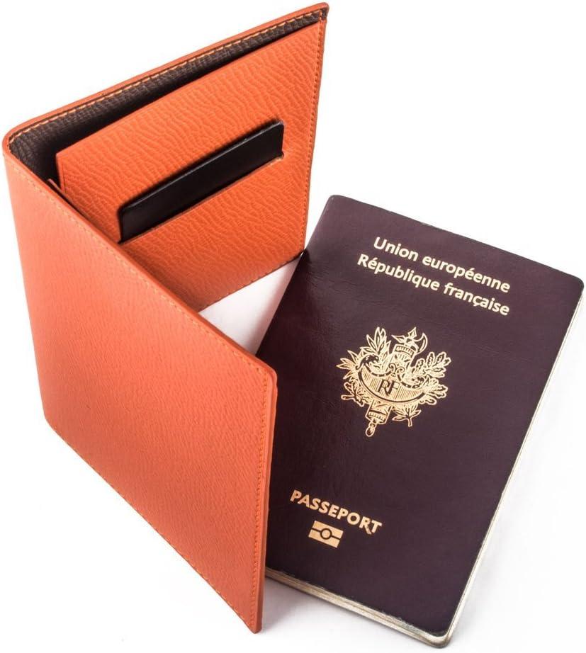 Prot/ège passeport. Maroquinerie de luxe cuir veau grain/é orange Etui porte passeport