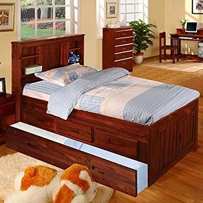 Discovery World Furniture Twin Bookcase Captains Bed with 3 Drawers and Twin Trundle