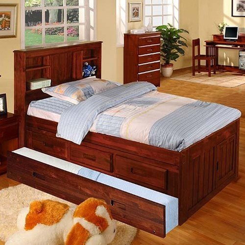 Discovery World Furniture Twin Bookcase Captains Bed with 3 Drawers and Twin Trundle, Merlot (Set Solid Pine Headboard)