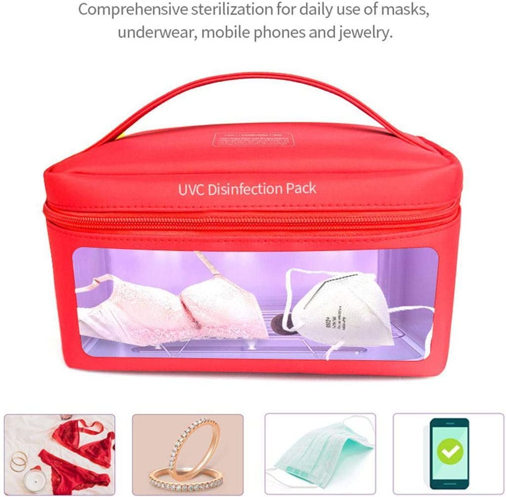 Hopekings LED UV Sanitizer Bag UV Cleaner Sterilizer Bag Portable USB Rechargeable LED UV Disinfection Bag