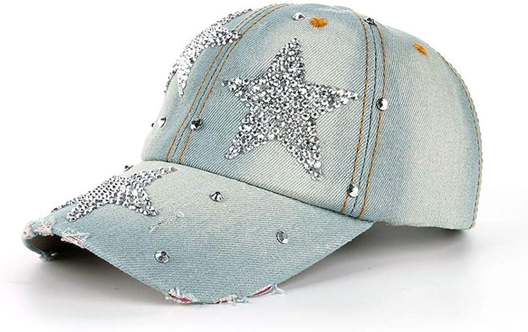 Leisure Cross Cap Rhinestones Star Jean Cotton Caps Baseball Cap B215