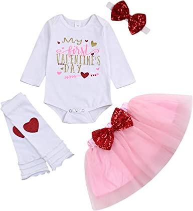 Newborn Infant Baby Girl My First Valentine/'s Day Romper Tutu Skirt Headband Leg Warmers 5Pcs Outfits Set