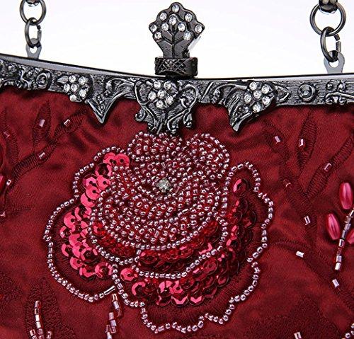 Fête À Mariage De Main Femmes KING Pour Paillettes Main Style À MIMI Les De D'embrayage Sac Main À Perlées Et De Vintage Soirée Sacs Sac De Burgundy q1wHRxa