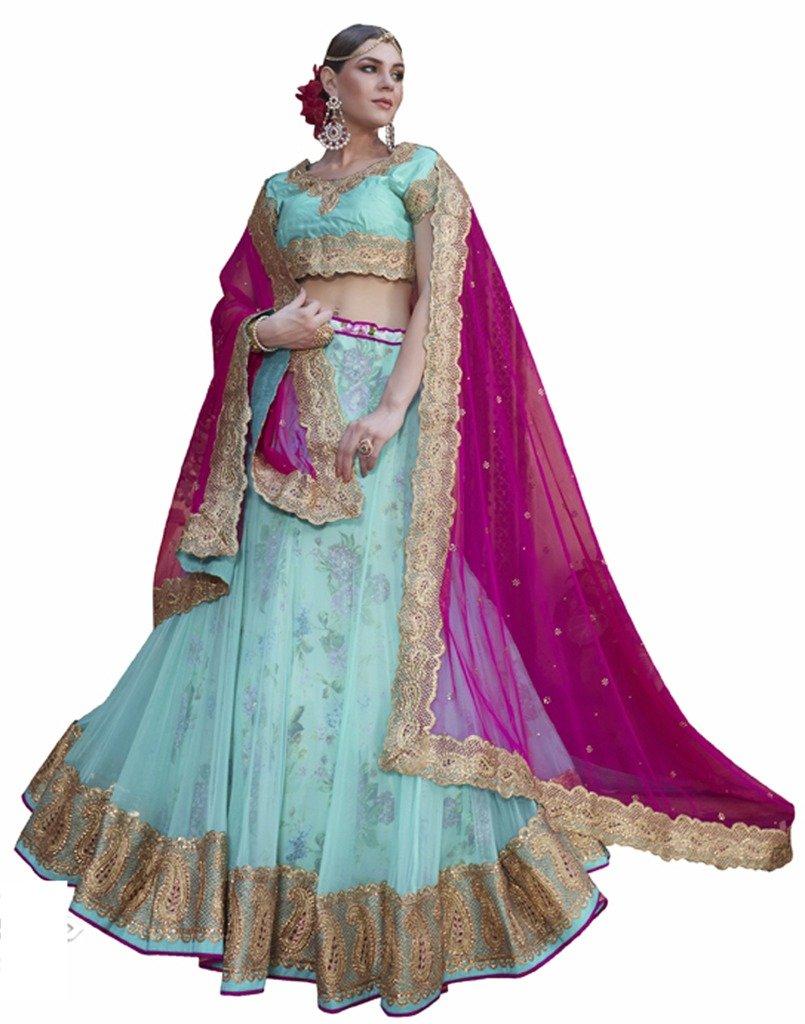 DesiButik's Wedding Wear Ravishing Aqua Blue Net Lehenga