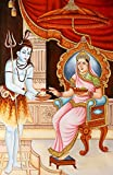 Exotic India Lord Shiva Get Alms from Annapurna Devi Water Color Painting