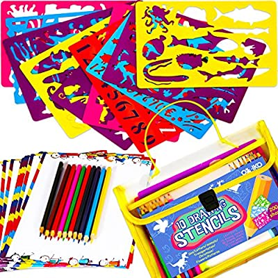 Drawing Stencils Art Set for Kids. 200+ Templates for Learning Letters, Numbers, Animals. Contains 20 Colorful Pencils, 50 Decorated Papers, Sharpener & Carry Case. Educational Gift for Boys & Girls