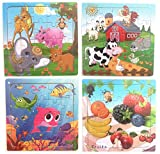 Hillento Wooden Puzzles Jigsaw Puzzles for Toddlers Kids - Educational Puzzle Toys Set, Safe Education Learning Toys for Toddlers, Set of 4(Zoo, Farm, Fruit, Underwater World)