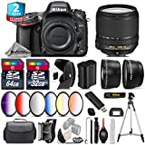 Holiday Saving Bundle for D610 DSLR Camera + 18-140mm VR Lens + 64GB Class 10 Memory Card + 2.2x Telephoto Lens + 0.43x Wide Angle Lens + 6PC Graduated Color Filer Set - International Version