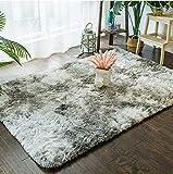 Crossfly超柔らかな室内おしゃれな厚手多色絞り染めシャギーラグカーペット リビングや寝室、キッチン、家のインテリア、ハイキング、ピクニックなどにぴったり (マジックグレー, 150x200cm(1.9畳))