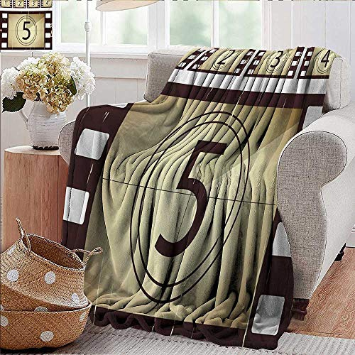 PearlRolan Throw Blanket,Movie Theater,Scratched Film Strips Vintage Movie Frame Pattern Grunge Illustration,Beige Brown White,300GSM,Super Soft and Warm,Durable Blanket 60