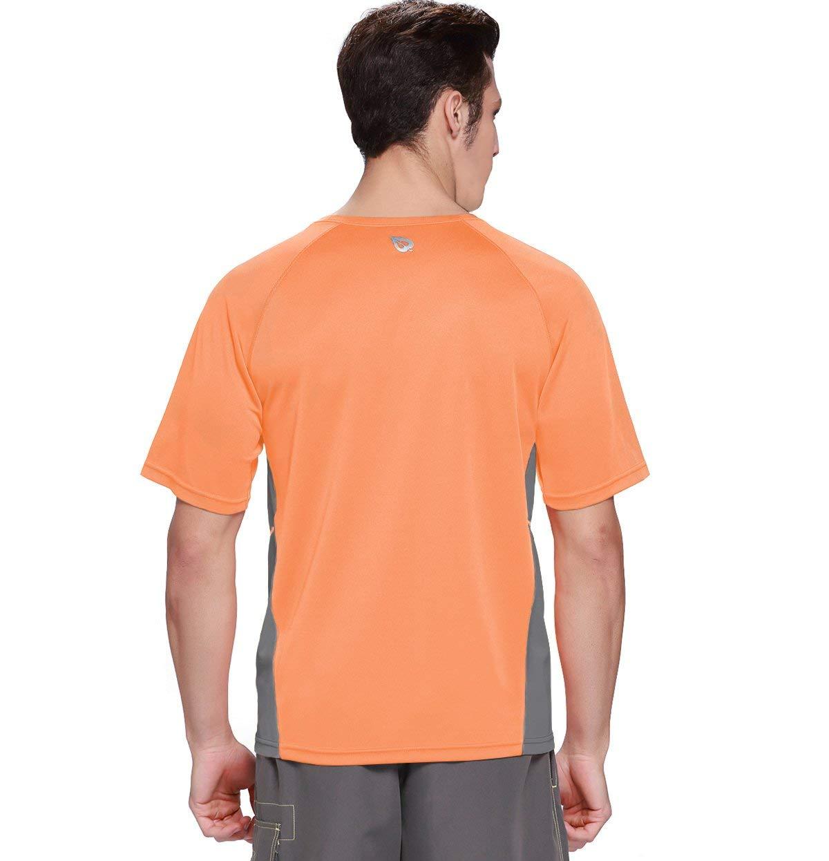 Baleaf Men's Short Sleeve Sun Protection Rashguard Swim Shirt UPF 50+ Fluorescent Orange S by Baleaf (Image #4)