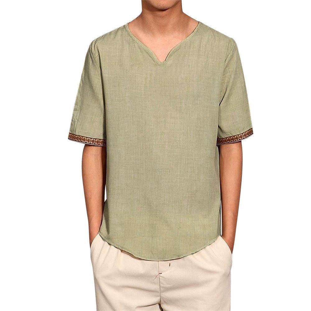 b56c6aa44c5 COOKI Men s Vintage Traditional Cotton Linen Short Sleeve V-Neck T Shirts  Basic Shirts Loose T-Shirt Tee Top M-5XL