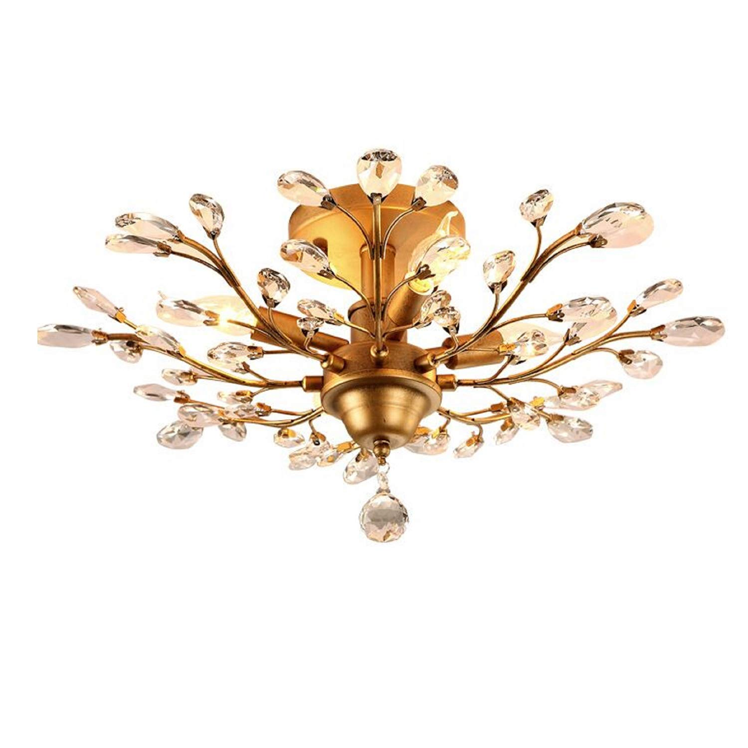 Injuicy Lighting Vintage K9 Crystal Metal Edison Branches Led Ceiling Lights Fixtures Retro Wrought Iron French Villa Ceiling Lamp Shade for Living Room Bedroom Porch Chandelier (Gold Dia.24.4 inch)