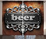 Ambesonne Manly Decor Collection, Silver Word on Ornament Beer Text Wooden Background Ancient Interior Rustic Art, Living Room Bedroom Curtain 2 Panels Set, 108 X 84 Inches, Grey Beer Wood Review