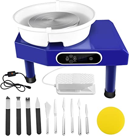Foot Pedal SEAAN Electric Pottery Wheel Machine 25CM Pottery Throwing Ceramic Machine LCD Touch Ceramic DIY Clay Tool for Ceramic Work Art Clay with 10 Pcs Clay Sculpting Tools