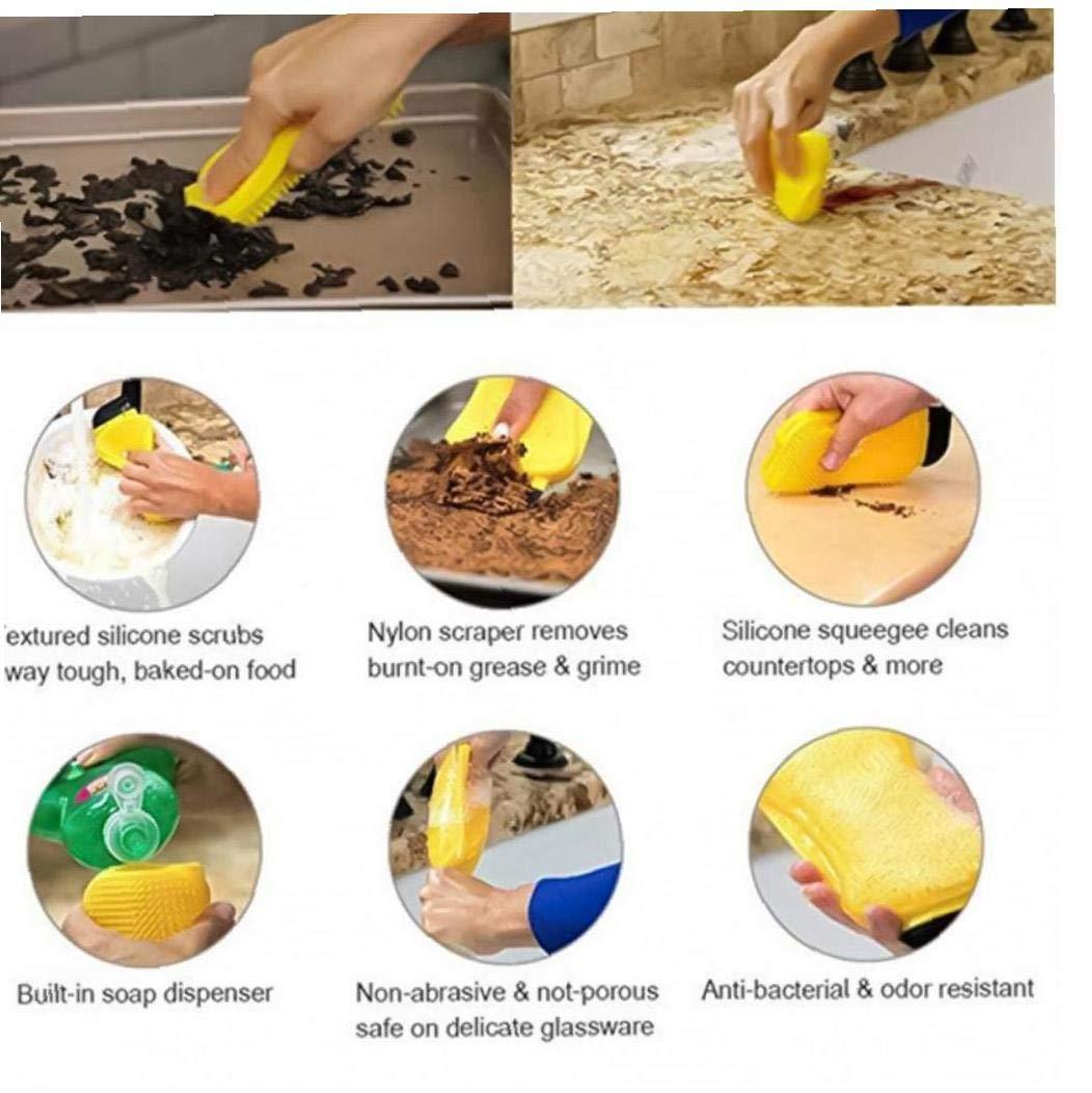 Zonfer 3 En 1 Cocina De Silicona Cepillo De Limpieza De La Esponja De Lavado Pan Plato Cuenco Sponge Raspador con Dispensador De Jab/ón Sink Cleaner