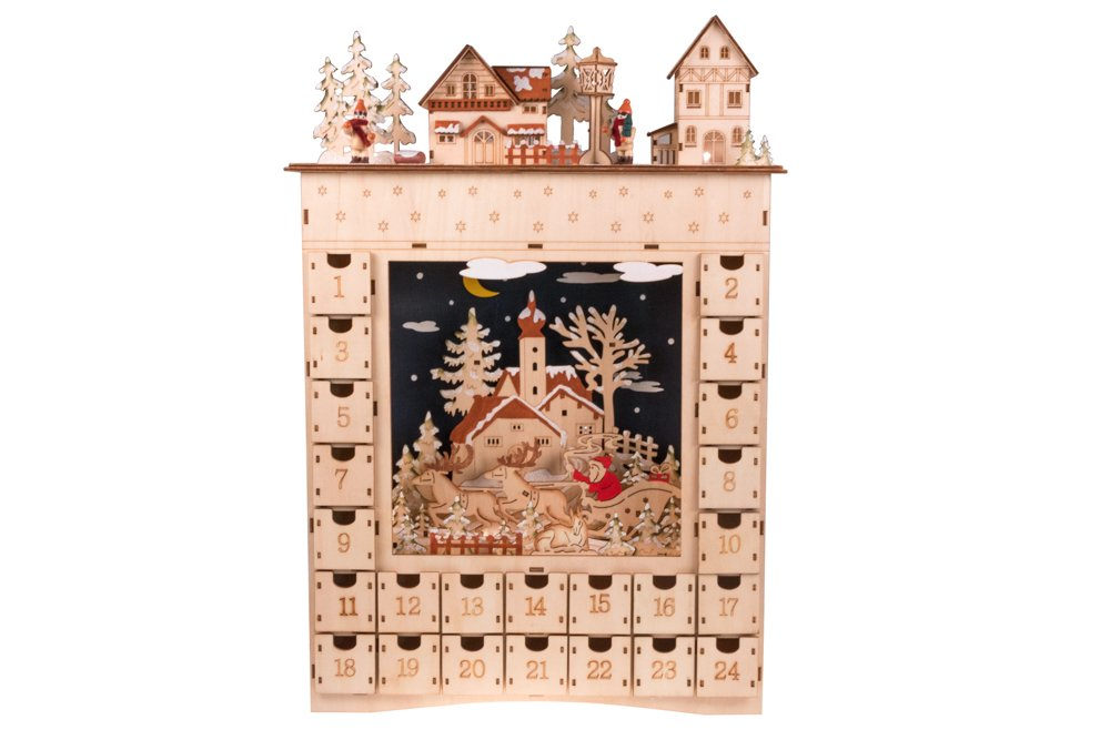 Christmas 24 Day Advent Calendar | Tan Village Diorama Wooden Christmas Decor Theme Painted Wood | Measures 13 x 19.75 x 3 Clever Creations