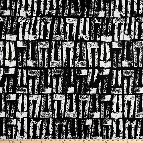 (Fabric ITY Stretch Jersey Knit Distressed Stripes Fabric, Black, Fabric By The)