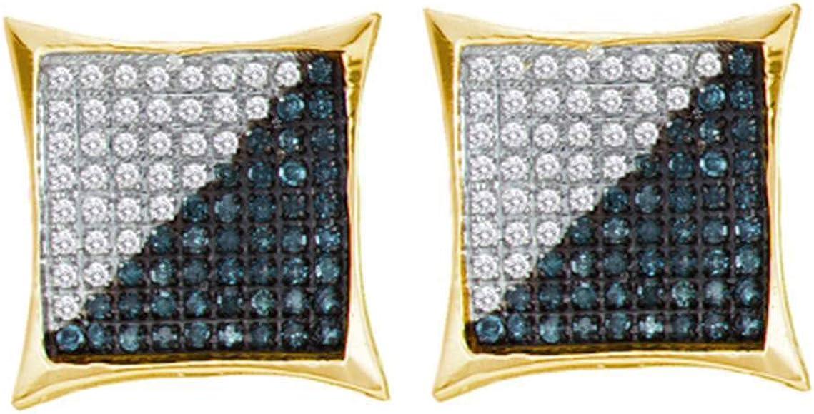 10k Yellow Gold Blue Diamond Mens Kite Cluster Earrings 1//3 ct