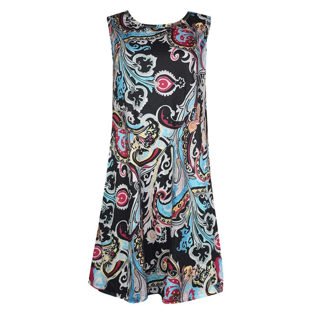 Tshirt Print Pockets Dresses for Women Summer Loose Beach Boho Sleeveless Floral Sundress Swing Casual Loose Cover Up (XL, Black) by Moxiu (Image #3)