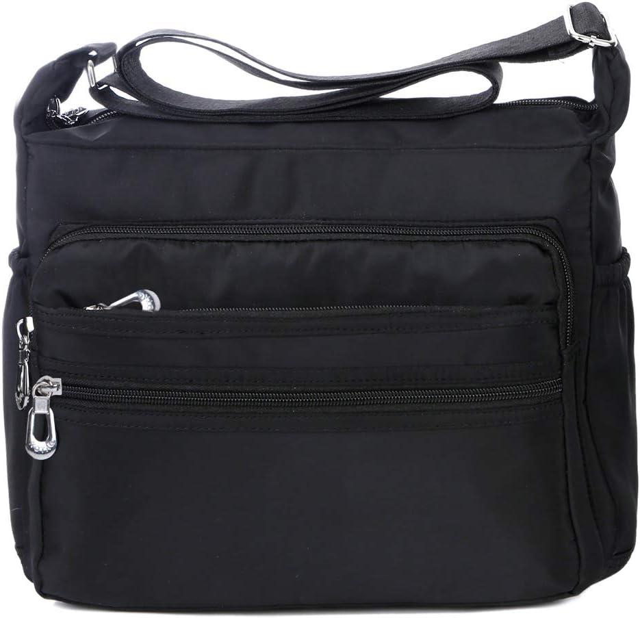 NOTAG Bolso de Hombro Mujer, Moda Bolso Bandolera de Nylon Impermeable Bolso de Mano de Viaje Con Varios Bolsillos, 2 tamaño (L, Negro)