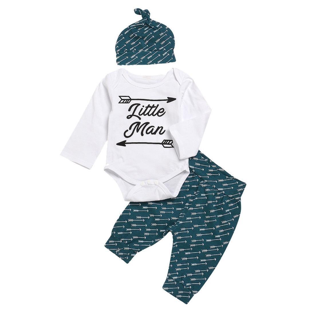 Jchen(TM) Hot Sales! for 0-24 Months Infant Baby Girls Boys Letter Little Man Print Romper Jumpsuit Arrow Pants Outfits Set Clothes (Age: 18-24 Months) by Jchen Baby Sets (Image #1)