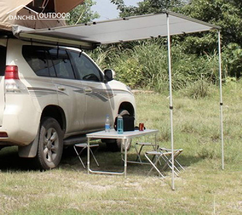 DANCHEL OUTDOOR Side Awning for Car SUV Color Grey Size 5x8.2ft